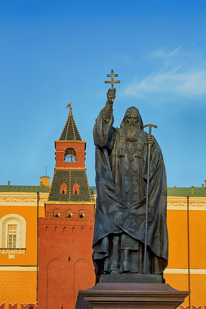 Statue of Patriarch Hermogenes in Alexander Gardens near the Kremlin, Moscow, Russia, Europe
