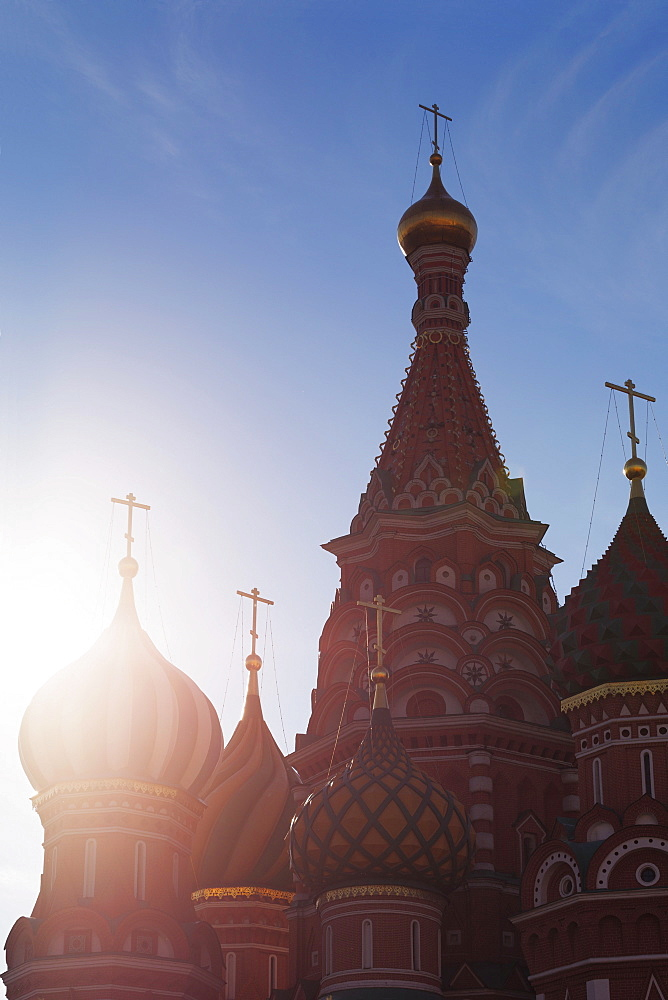 Silhouette of the onion domes of St. Basil's Cathedral in Red Square, UNESCO World Heritage Site, Moscow, Russia, Europepushed red in shadows using curves
