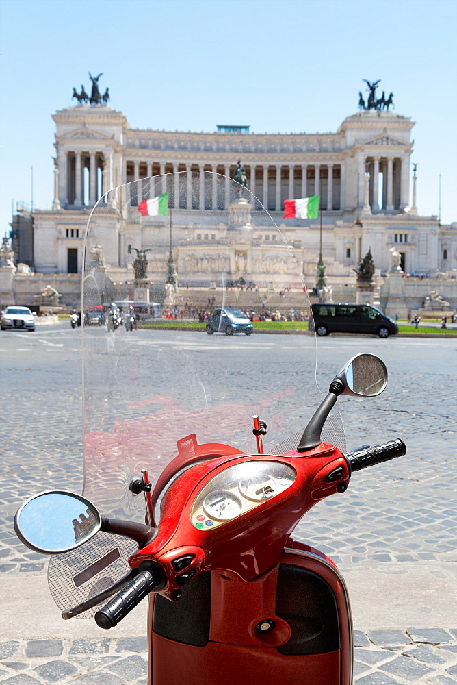 Scooter parked in Piazza Venezia with the Victor Emmanuel Monument, Rome, Lazio, Italy, Europe
