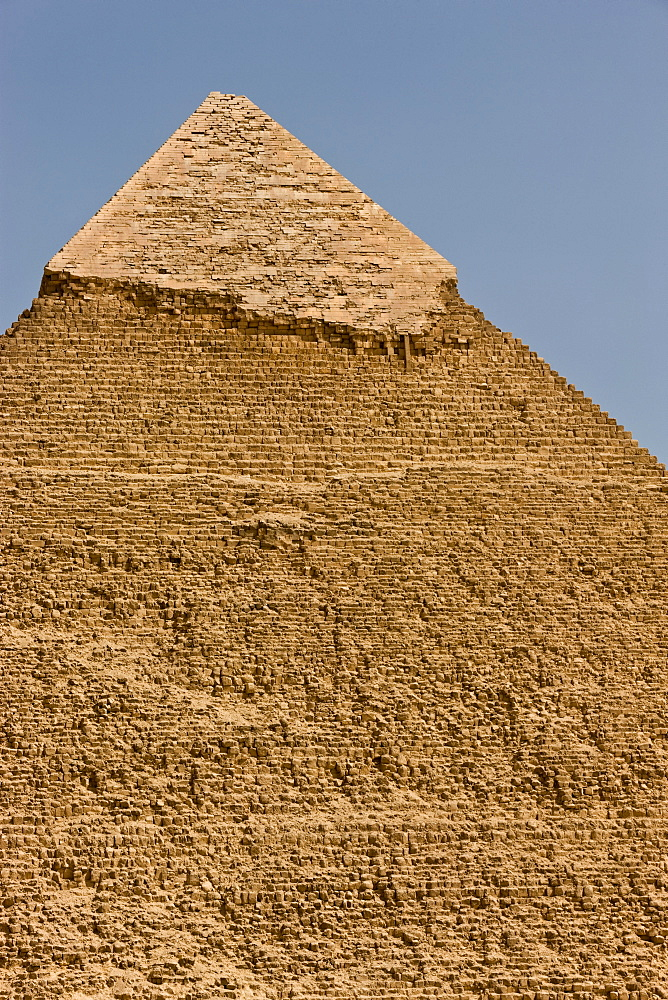 The eroded top of the Pyramid of Khafre in Giza, UNESCO World Heritage Site, near Cairo, Egypt, North Africa, Africa