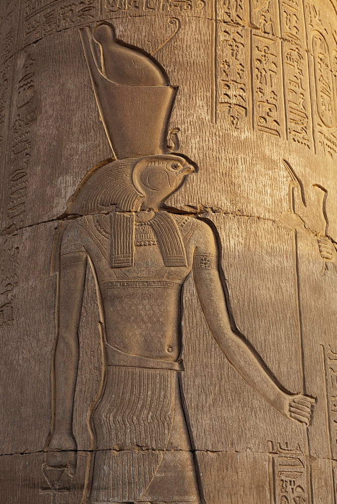 Relief carving in the ancient Egyptian Temple of Kom Ombo near Aswan, Egypt, North Africa, Africa - 785-1911