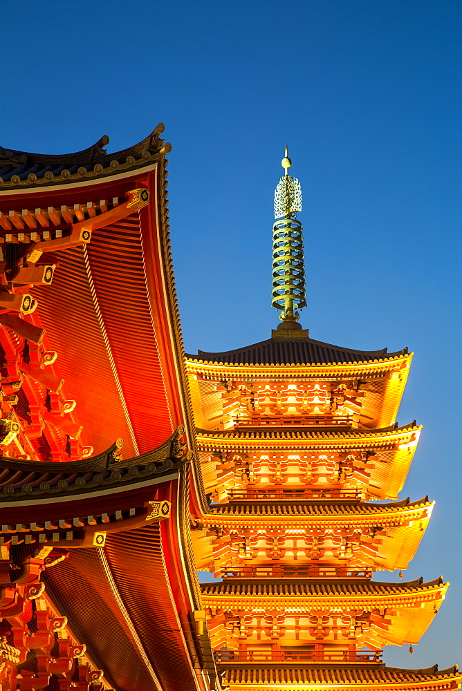 The Five Storey Pagoda at Sensi-ji Temple at night, Tokyo, Japan, Asia