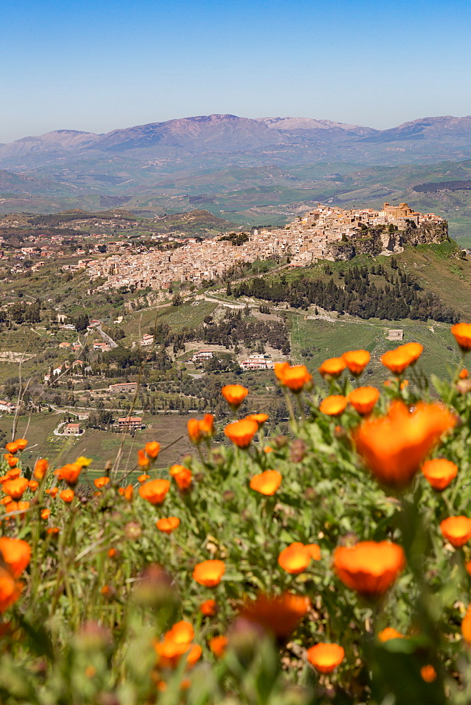 The small hill town of Calascibetta seen from Enna, Sicily, Italy, Europe