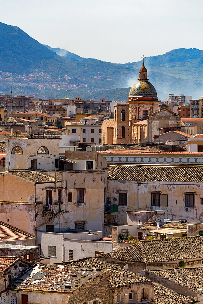 View of the rooftops of Palermo with the hills beyond, Sicily, Italy, Europe
