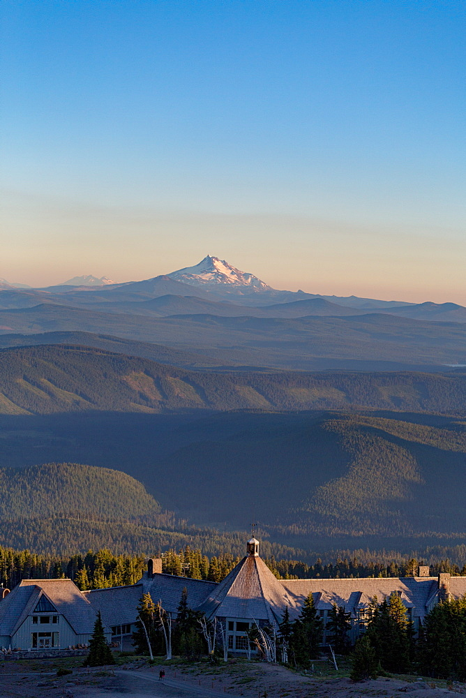 Timberline Lodge hotel and Mount Jefferson seen from Mount Hood, part of the Cascade Range, Pacific Northwest region, Oregon, United States of America, North America