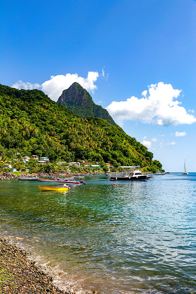 Petit Piton from the beach at Soufriere, St. Lucia, Windward Islands, West Indies Caribbean, Central America