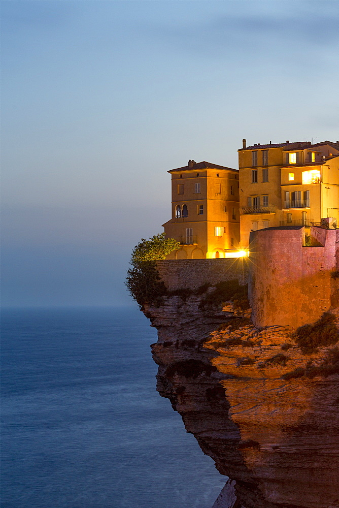 Night view of the Citadel and old town of Bonefacio perched on rugged cliffs - 785-2364