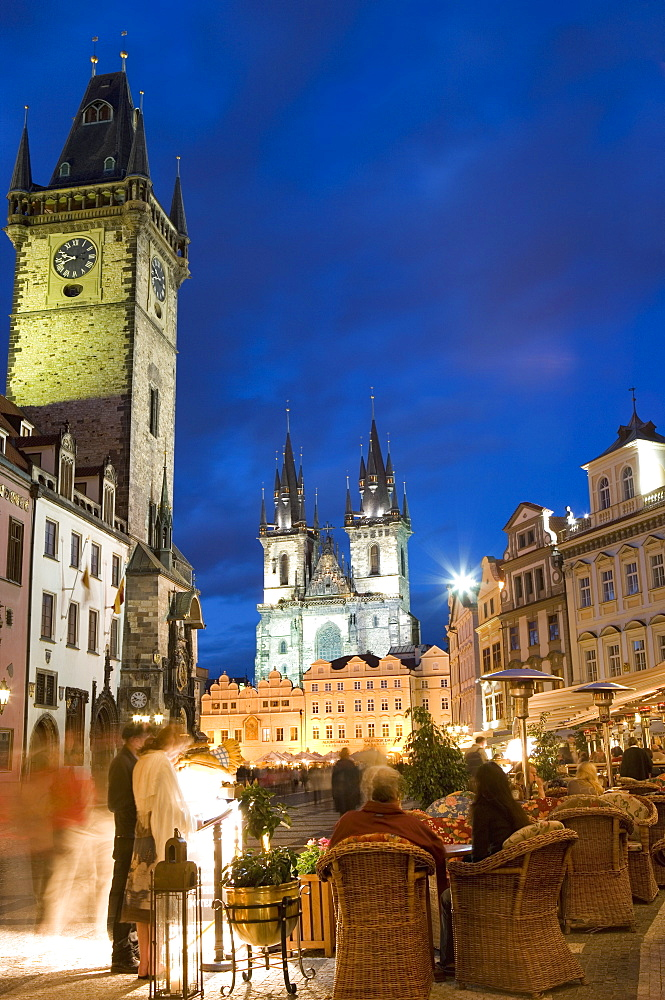 Cafe and Town Hall, Old Town Square and the Church of Our Lady before Tyn, Old Town, Prague, Czech Republic, Europe