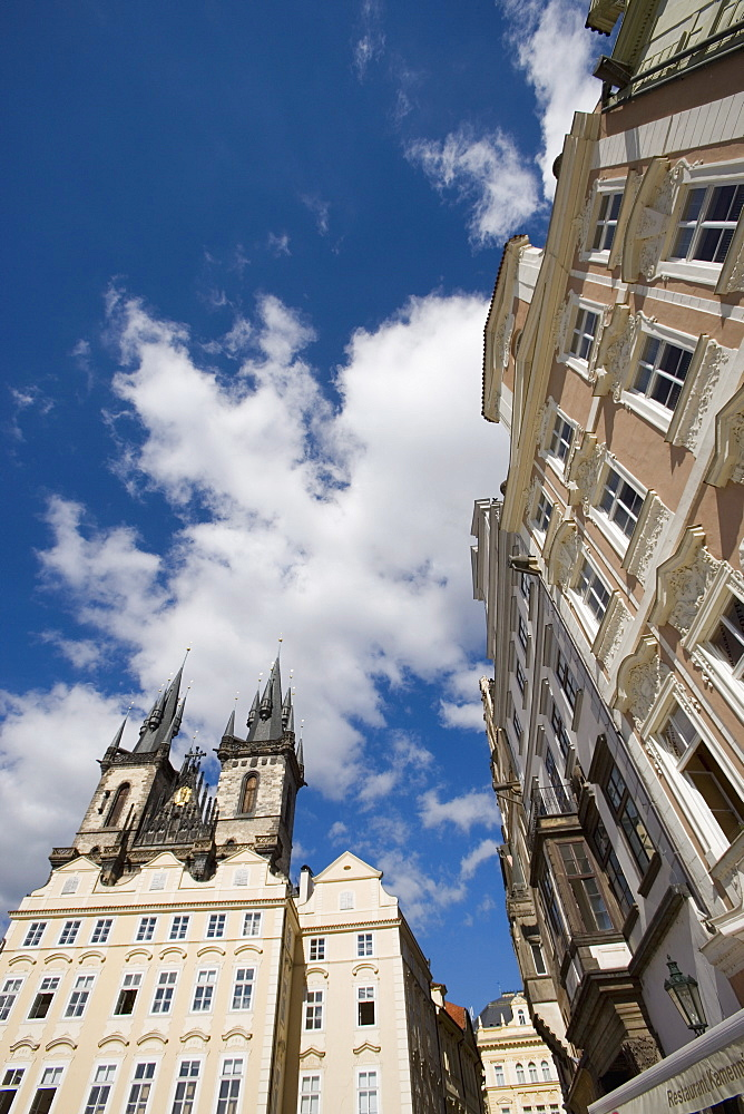 Old Town Square, spires of the Church of Our Lady before Tyn, Old Town, Prague, Czech Republic, Europe