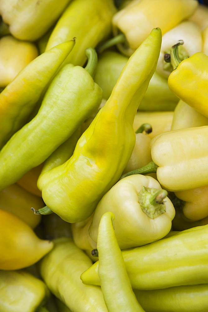 Green chilli peppers in market, Old Town, Prague, Czech Republic, Europe