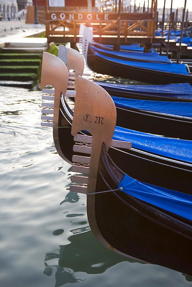 Gondolas floating in Saint Mark's Basin, Venice, Veneto, Italy, Europe