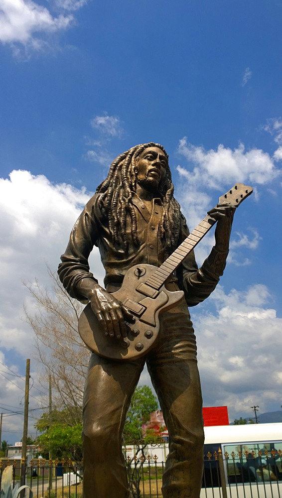 Statue Of Bob Marley In Kingston Jamaica