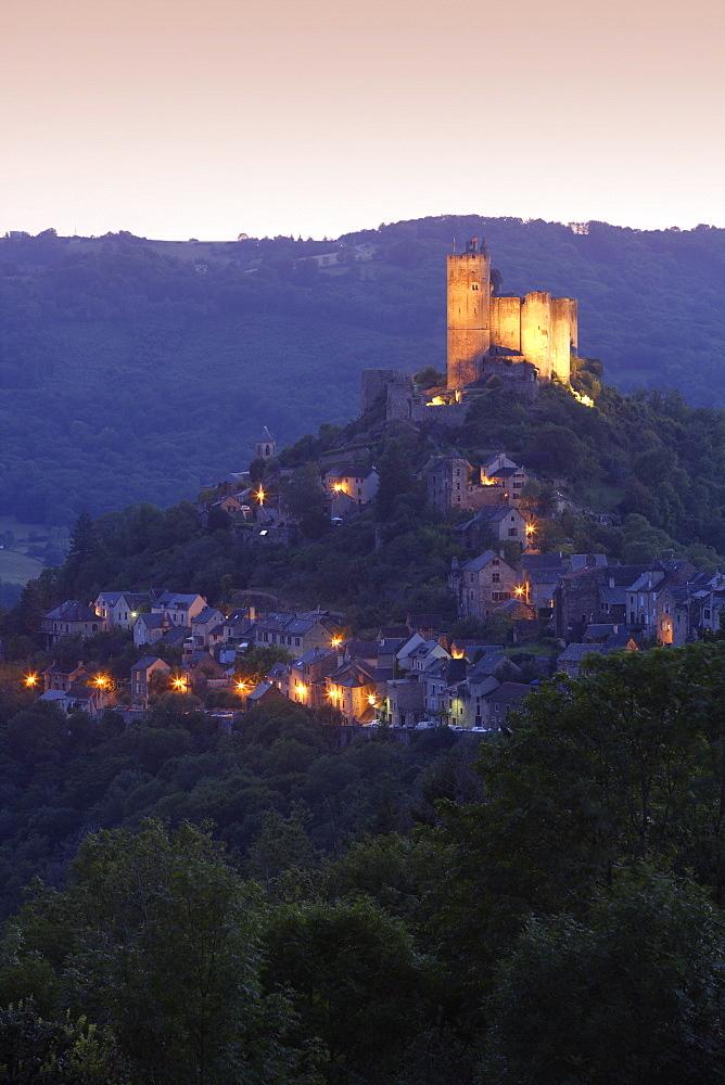Chateau at dusk, Najac, Midi Pyrenees, France, Europe - 791-8