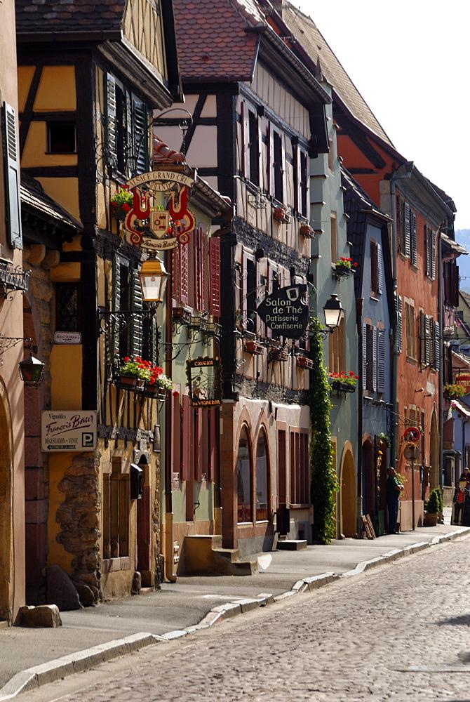 Street of timbered buildings, Turckheim, Haut-Rhin, Alsace, France, Europe
