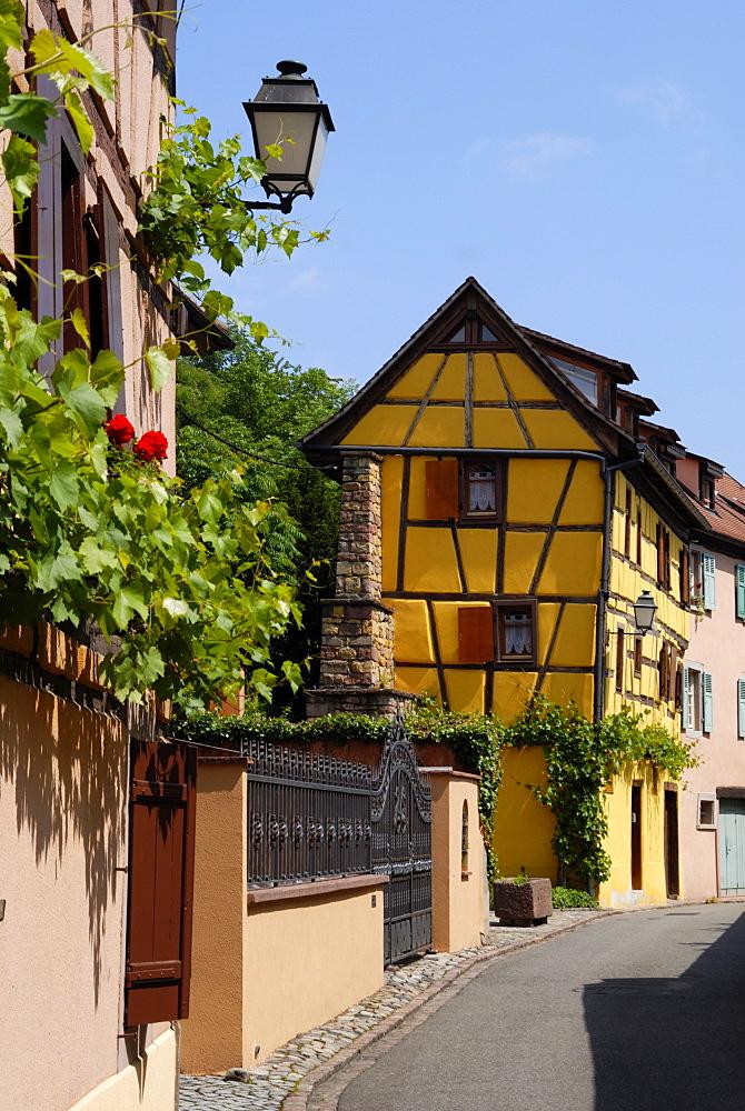 Timbered buildings in street, Turckheim, Haut-Rhin, Alsace, France, Europe