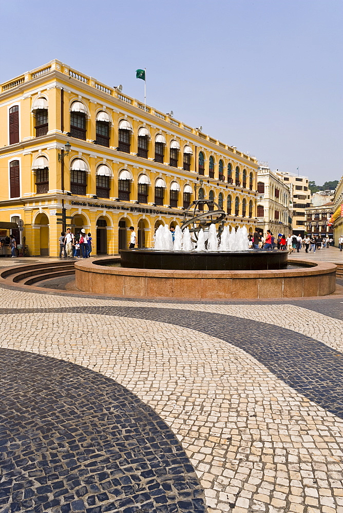 The famous swirling black and white pavements of Largo do Senado Square in central Macau, Macau, China, Asia