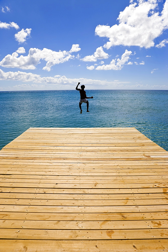 Wooden jetty leading into the Caribbean Sea, Frigate Bay Beach, St. Kitts, Leeward Islands, West Indies, Caribbean, Central America - 794-300