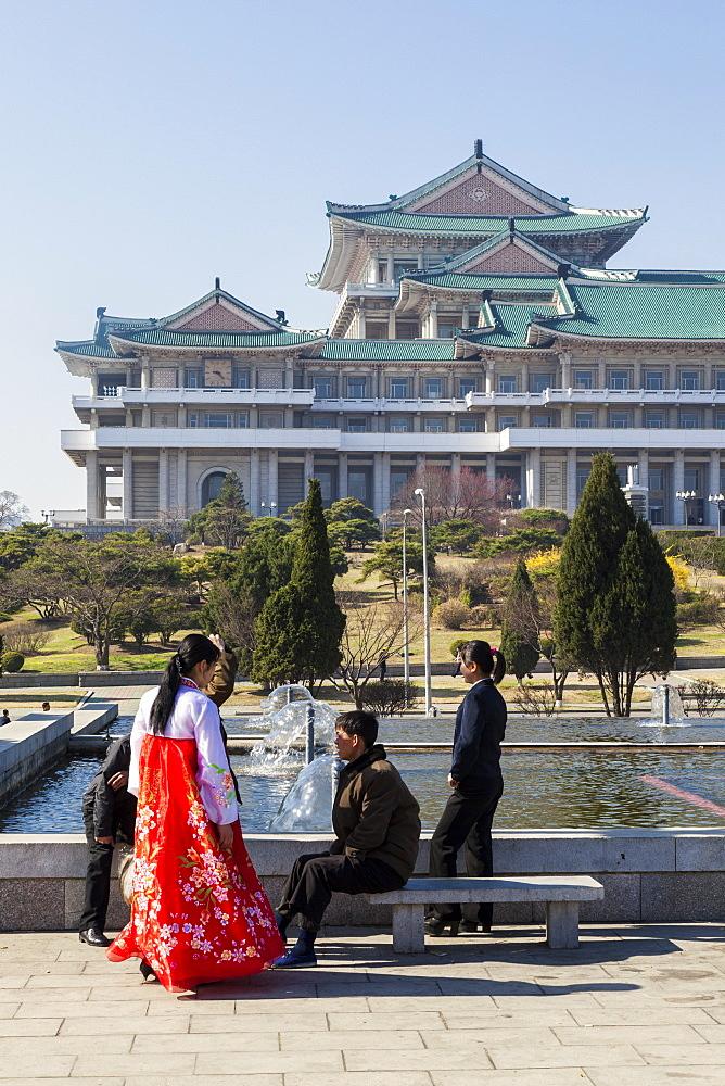 Mansudae Arts Theatre and fountains, Pyongyang, Democratic People's Republic of Korea (DPRK), North Korea, Asia