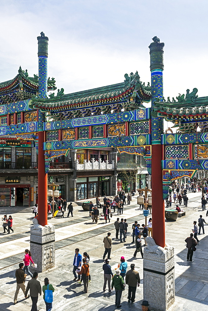 Newly built historically themed traditional street for tourists at Qianmen, Beijing, China, Asia