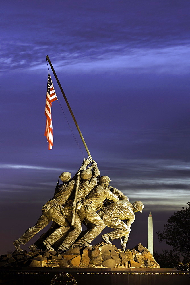 Time lapse of the Statue of Iwo Jima U.S. Marine Corps Memorial at Arlington National Cemetery, Washington DC, United States of America, North America