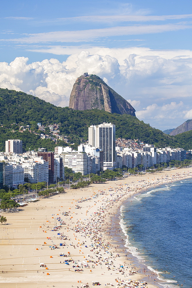 Elevated view of Copacabana beach, Rio de Janeiro, Brazil, South America