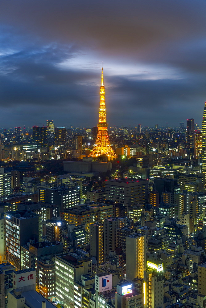Elevated night view of the city skyline and iconic illuminated Tokyo Tower, Tokyo, Japan, Asia