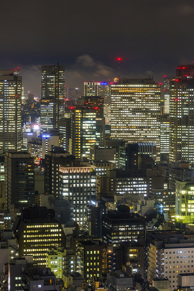 Japan, Tokyo, downtown city buildings at night