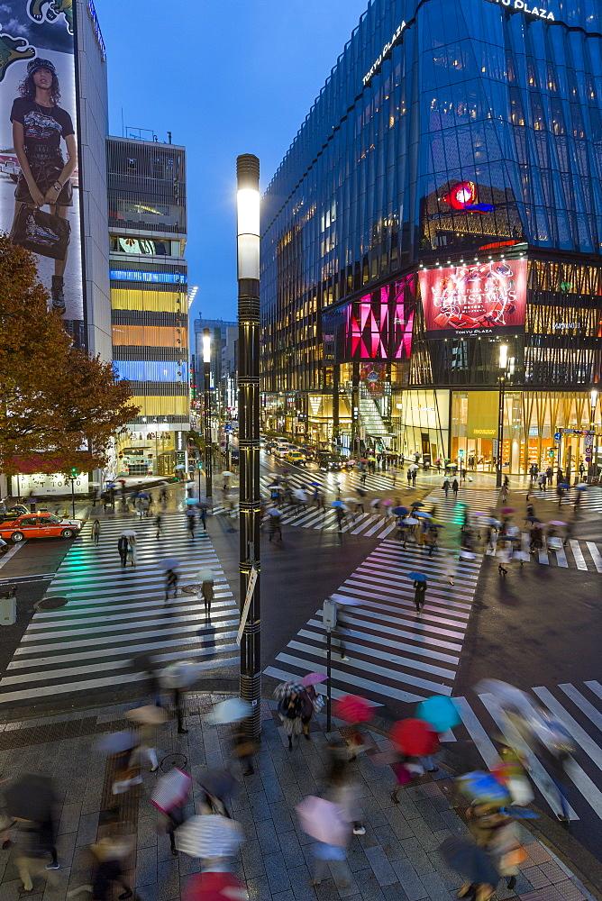 Time lapse overview of Sukiyabashi pedestrian crossing, Ginza, Tokyo, Japan, Asia