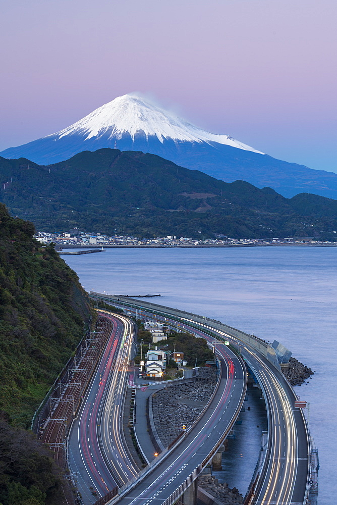 Mt. Fuji and traffic driving on the Tomei Expressway, Shizuoka, Honshu, Japan - 794-4521