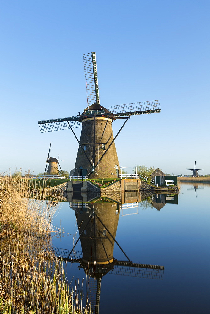 Windmills, Kinderdijk, UNESCO World Heritage Site, Netherlands, Europe - 794-4528
