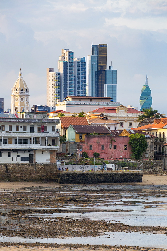 Historic and modern city skyline, Panama City, Panama, Central America - 794-4544