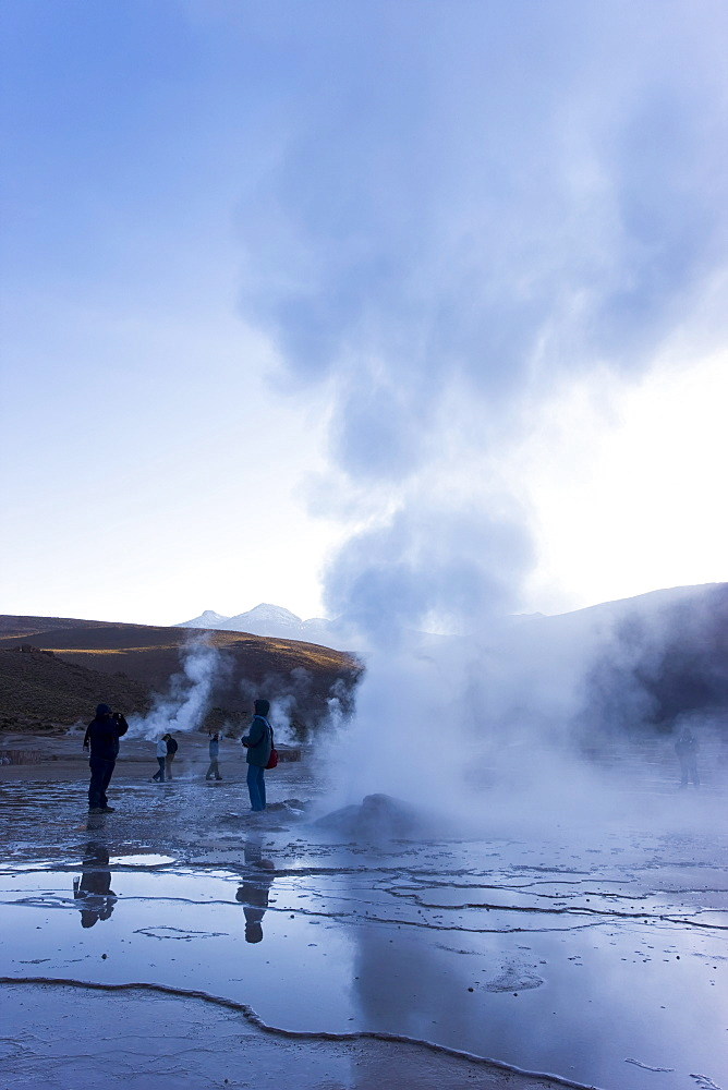 El Tatio Geysers, at 4300m above sea level El Tatio is the world's highest geyser field, the area is ringed by volcanoes and fed by 64 geysers, Atacama Desert, Norte Grande, Chile, South America