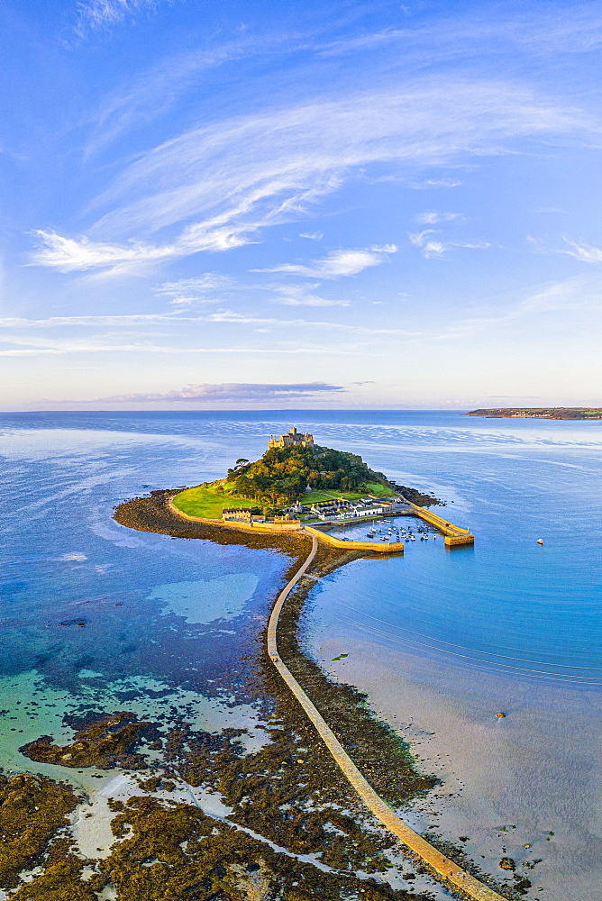 Aerial view over Saint Michael's Mount, Marazion, near Penzance, Cornwall, England, United Kingdom, Europe