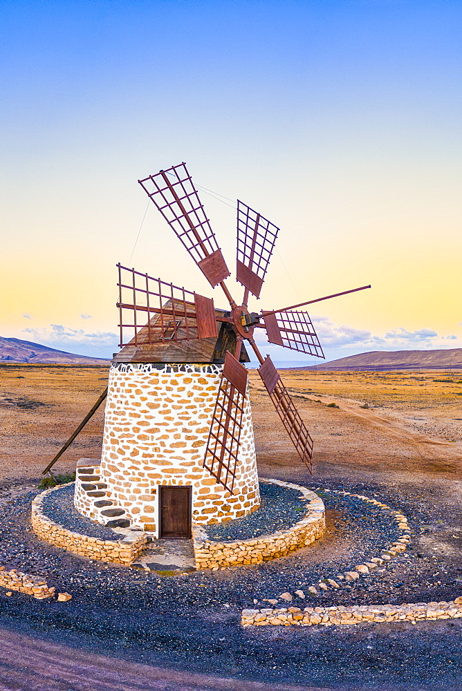 Molino de Tefia, traditional windmill in Tefia, Fuerteventura, Canary Islands, Spain, Atlantic, Europe