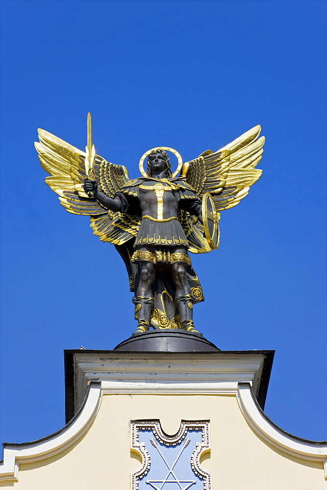 Archangel Michael sculpture in Independence Square, Kiev, Ukraine, Europe