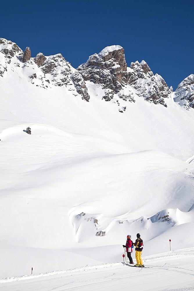 Newly groomed piste, St. Anton am Arlberg, Tirol, Austrian Alps, Austria, Europe