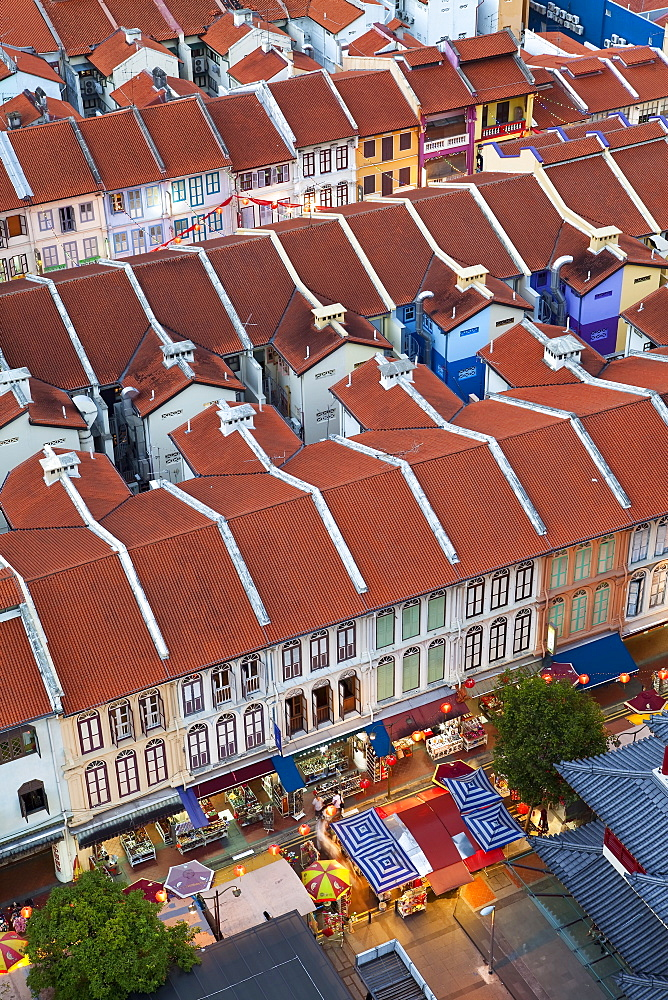 Elevated view over traditional houses in Chinatown, Singapore, Southeast Asia, Asia - 794-888