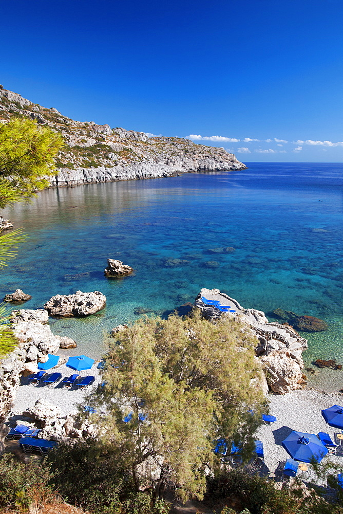 Beach at Rhodes Island, Dodecanese, Greek Islands, Greece, Europe - 795-566