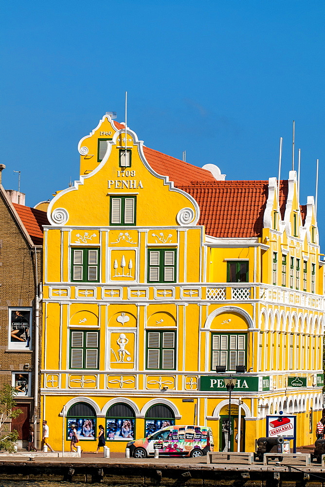 Colourful buildings, architecture in capital city Willemstad, UNESCO World Heritage Site, Curacao, ABC Islands, Dutch Antilles, Caribbean, Central America