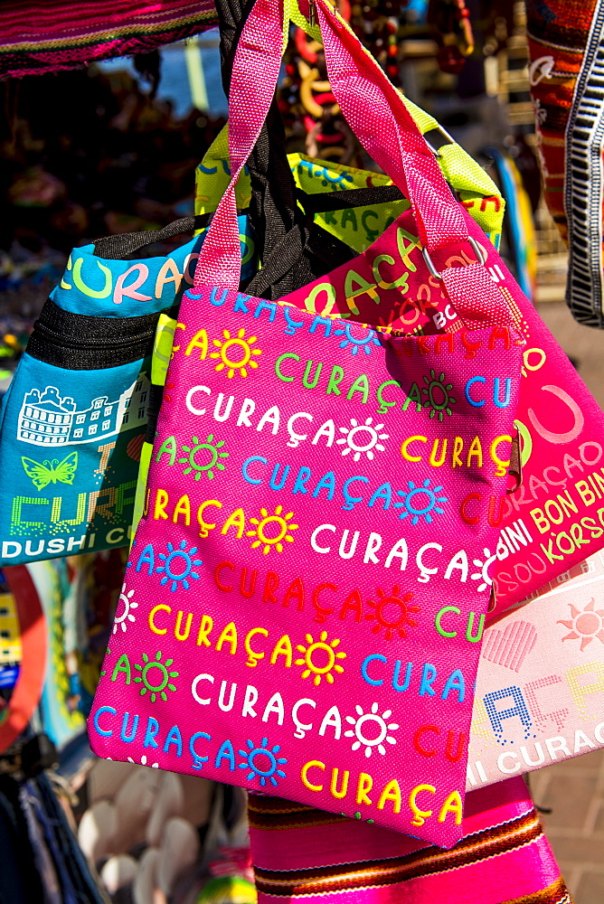 Souvenirs in the local market, Willemstad, Curacao, ABC Islands, Dutch Antilles, Caribbean, Central America