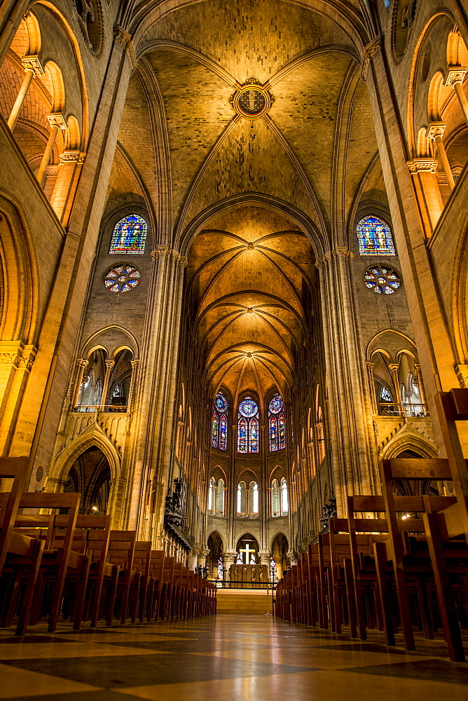 Pre fire interior of Notre Dame Cathedral, Paris, France, Europe - 796-2563