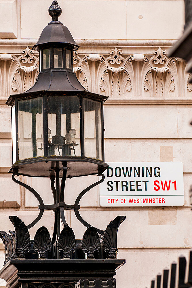 Downing Street sign, London, England, United Kingdom, Europe - 796-2581