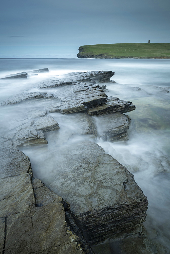 Dramatic rock ledges on the wild west coast of Orkney, Scotland, United Kingdom, Europe