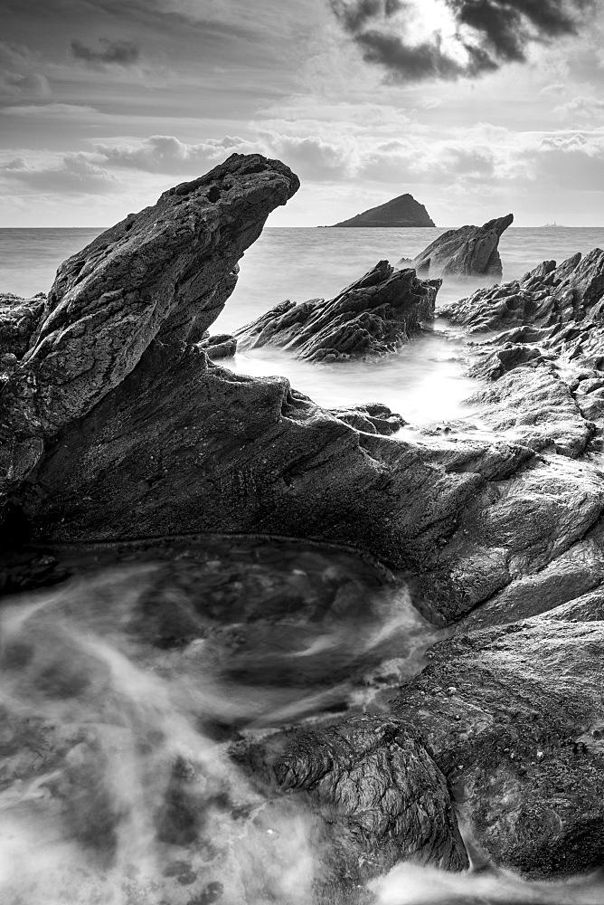 Rugged coastal ledges at Wembury Bay on the south coast of Devon, England, United Kingdom, Europe