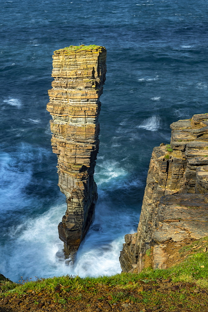North Gaulton Castle sea stack on the wild west coast of Orkney, Scotland, United Kingdom, Europe