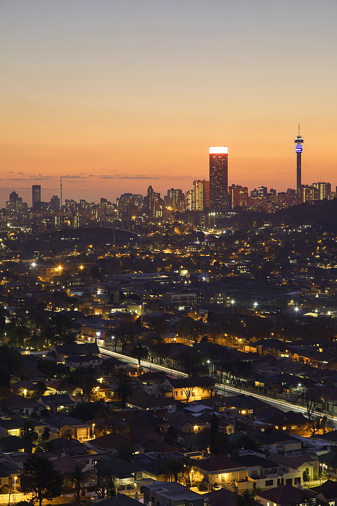 View of skyline at sunset, Johannesburg, Gauteng, South Africa - 800-3221