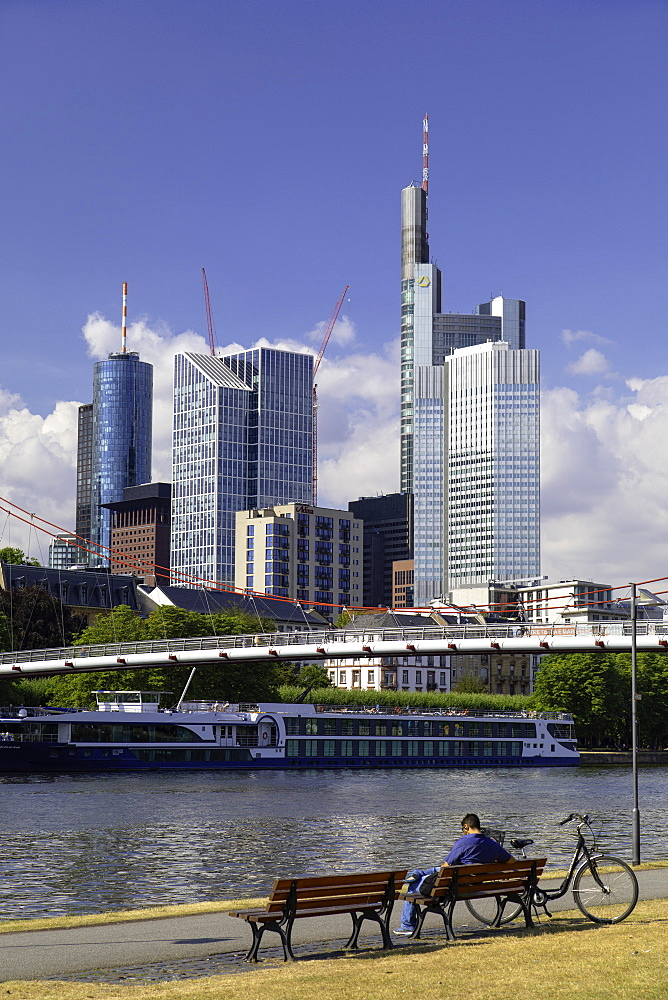 Skyline along River Main, Frankfurt, Hesse, Germany, Europe - 800-3557