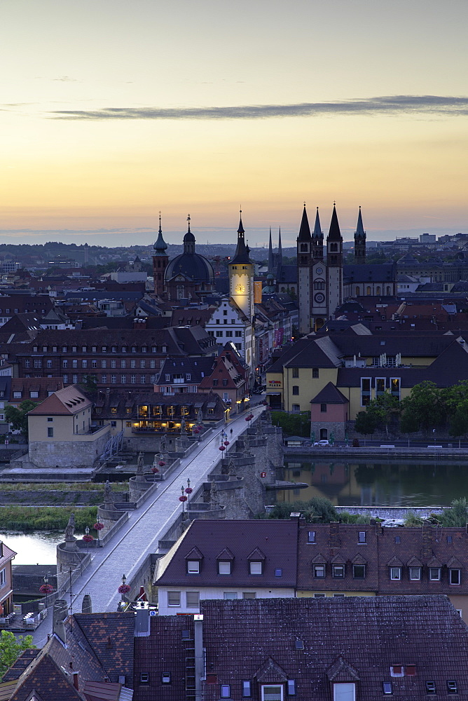 View over Wurzburg at dawn, Bavaria, Germany - 800-3584