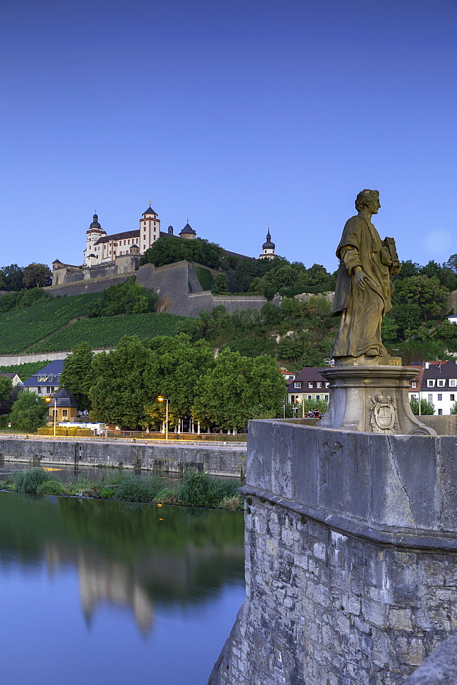 Marienberg Fortress and Old Main Bridge at dawn, Wurzburg, Bavaria, Germany - 800-3585