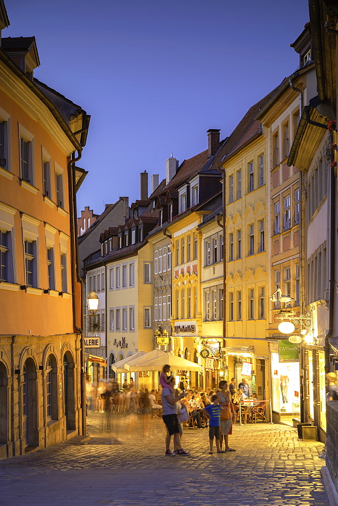 Restaurants at dusk, Bamberg, UNESCO World Heritage Site, Bavaria, Germany, Europe - 800-3598